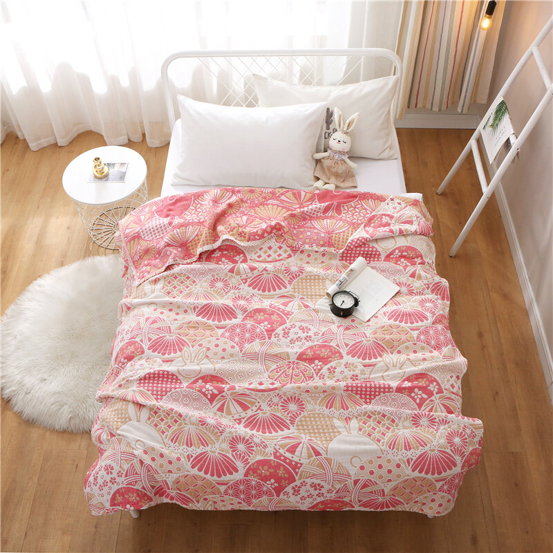 Mmkids Magic Little Meow Four-Layer Washed Air Conditioning Quilt Jacquard Gauze Blanket Children Adult Summer Blanket Cotton New
