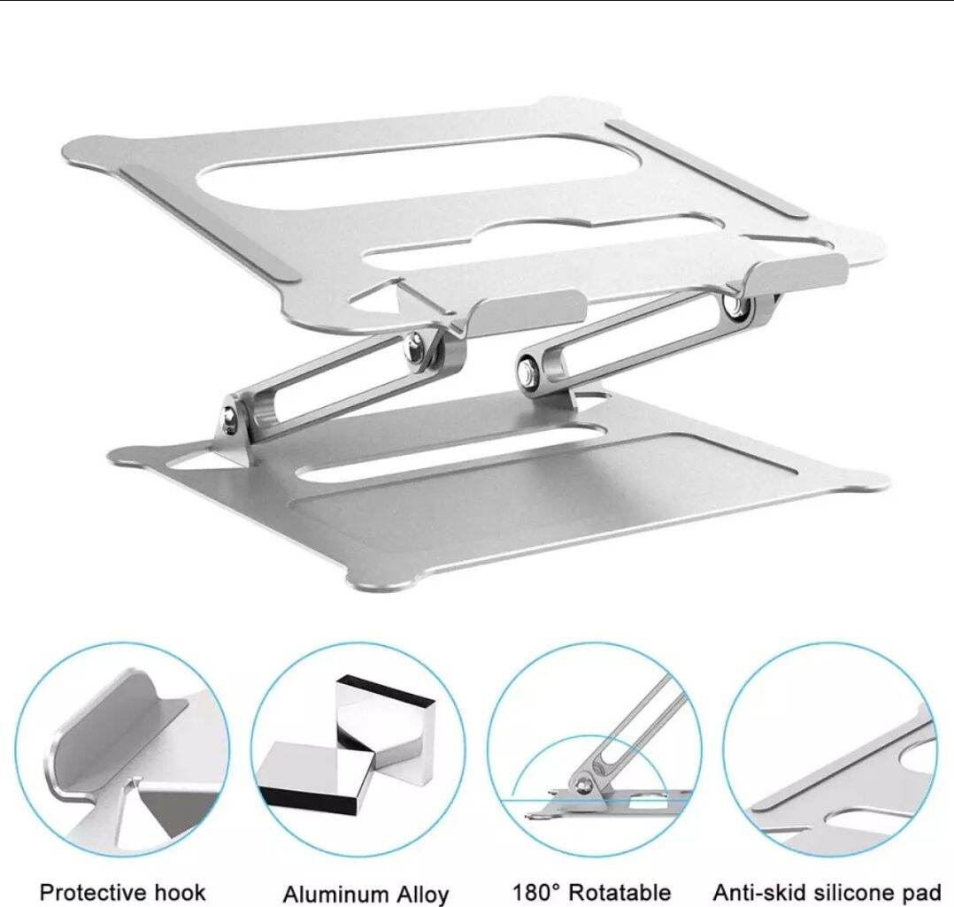 (NEEDIES) Needies Metal Alloy Aluminium Laptop Stand Holder Strong Base Support Heavy Laptop Ma.c.book Air stand Ma.c.book Pro Asus Gaming Laptop Razer Ergonomic Quality Good for Backbone Design Malaysia