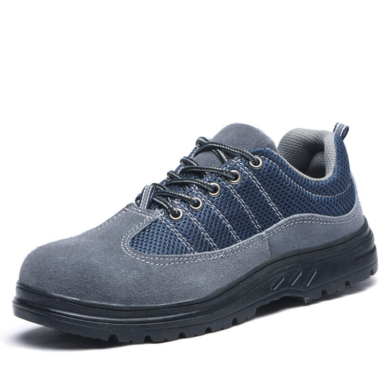 Safety Shoes Male Summer Breathable Anti-smashing and Anti-penetration Female Shoes Genuine Leather Steel Head Anti-slip High-temperature Resistant Shoes