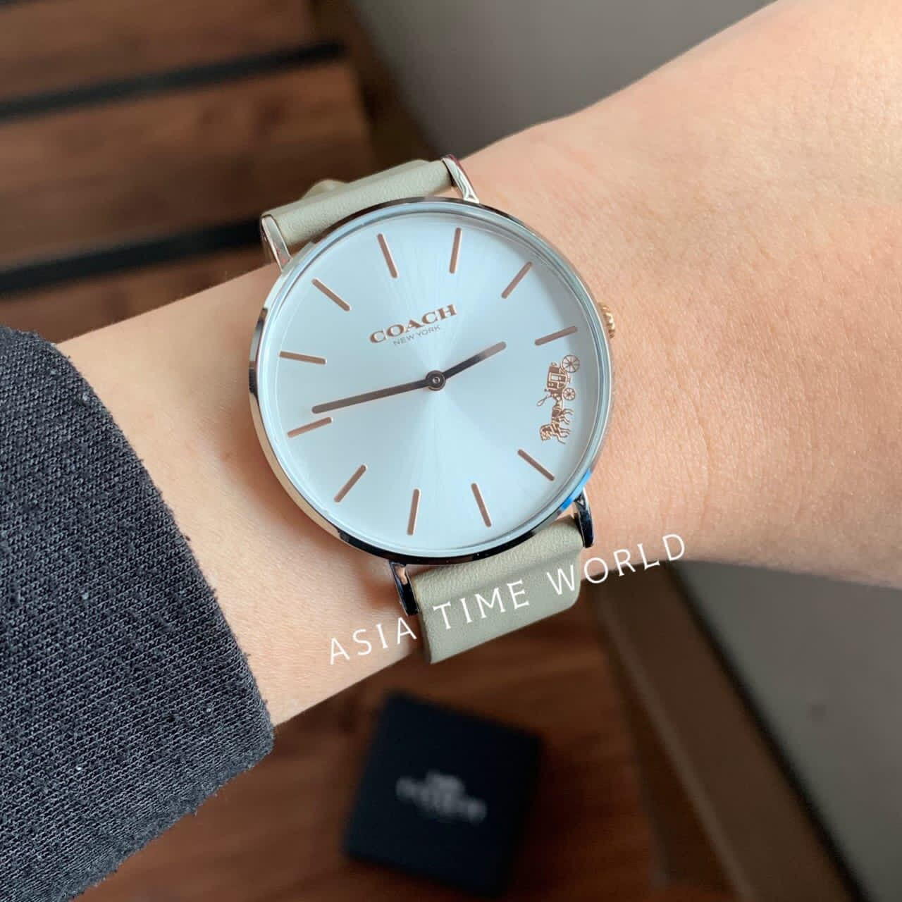 [Original] COACH 14503119 Perry Quartz White Dial Calfskin Leather Ladies Watch Official Warranty Malaysia