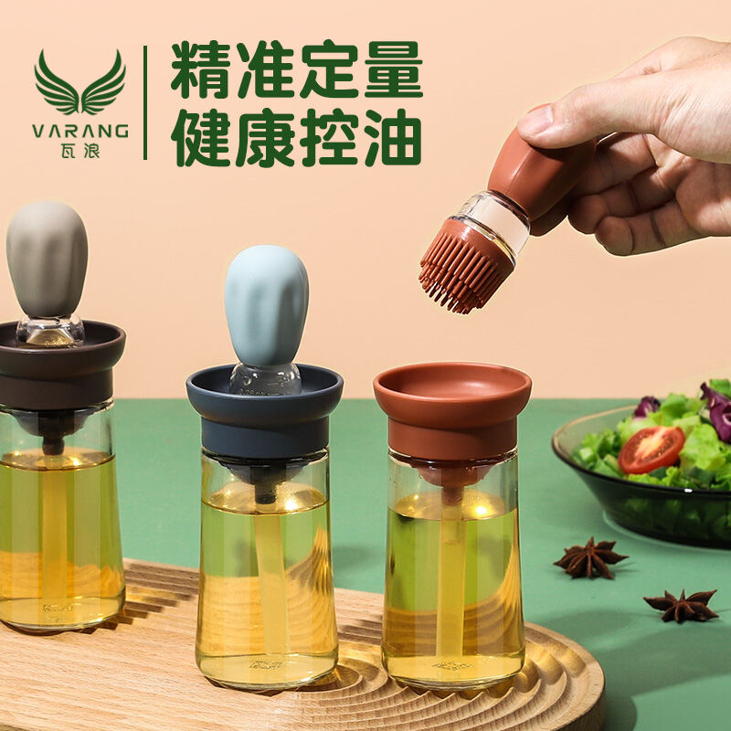Oil Brush With Bottle Kitchen Pancake High-temperature Resistant One-piece Oil Bottle Set Household Barbecue Baking Silicone Brush Useful Product