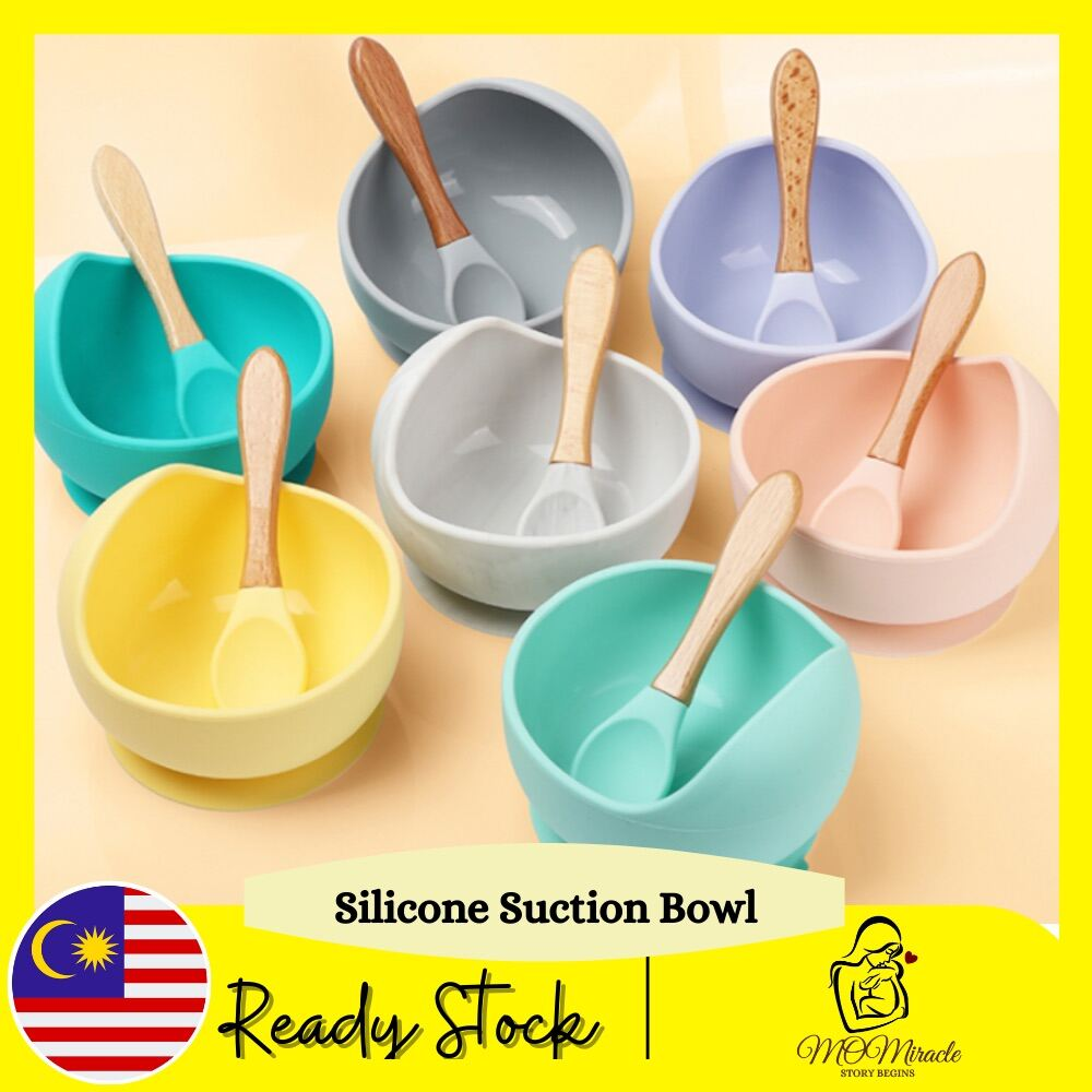 Silicone First Feeding Set Baby Silicone Suction Bowls and Silicone Spoon With Wooden Handle for Baby Training Baby Food Baby First Stage Toddler Feeding Supplies for Kids