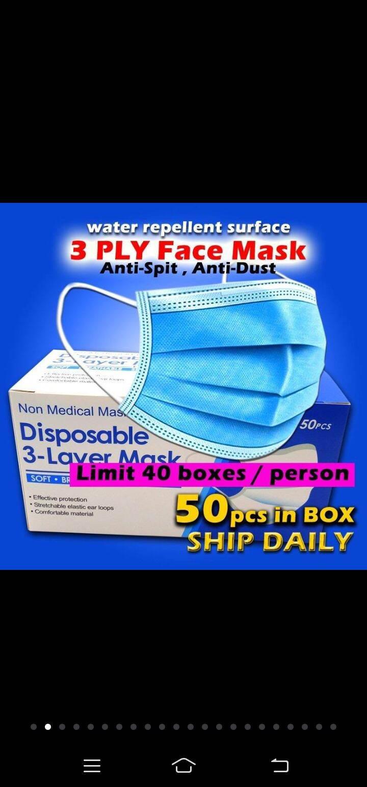 Mediplus 50pcs Face Mask Disposable Earloop 3ply Face Masks