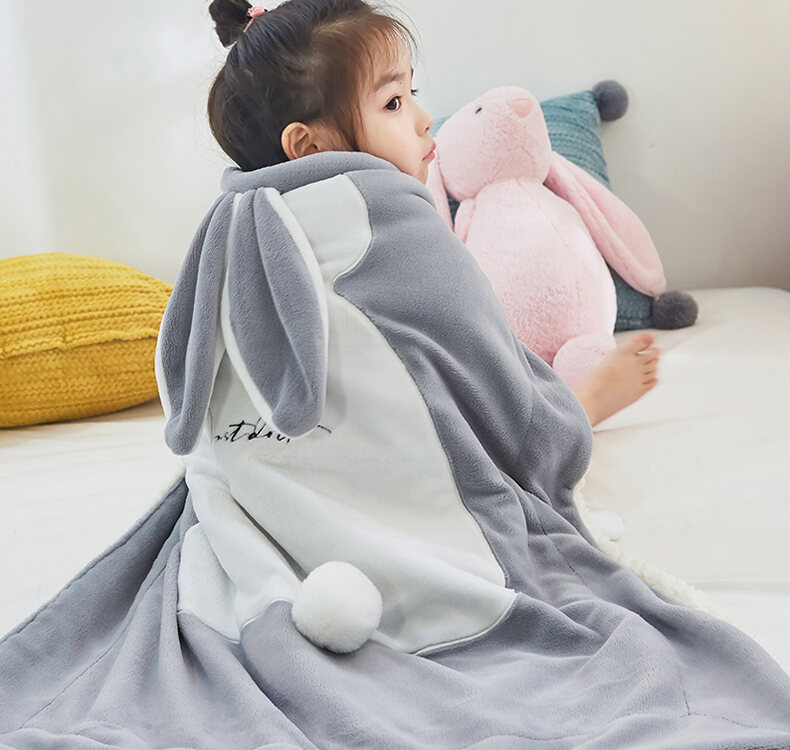 Baby Small Blanket Baby Blanket Childrens Blanket Double Thick Winter Cover Blanket Lamb Milk Fiber Small Quilt