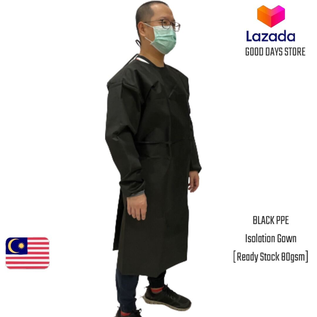 [Black] PPE NON WOVEN ISOLATION GOWN | Made in Malaysia (Ready Stock) 80gsm Disposable High Quality Durable Protective Suit