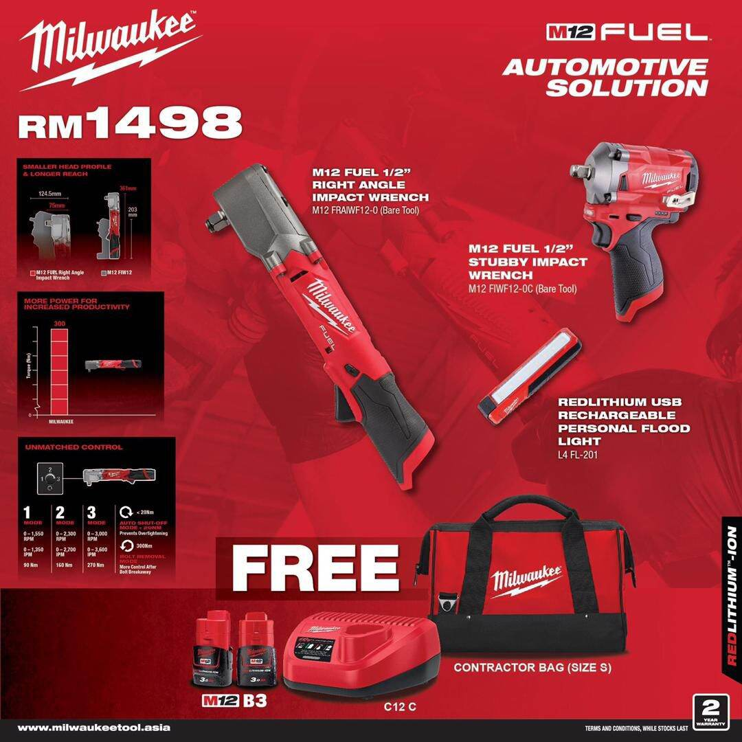 Milwaukee M12 Cordless Automotive Solution Combo M12 Fuel Stubby Impact Wrench Set with 3.0ah Battery x 2unit & Charger + M12 Right Angle Impact Wrench + Free L4 FL-201 + Milwaukee Contractor Bag S Size