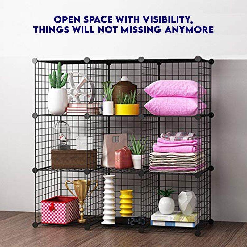 DIY 6 Wire Construction Storage Cabinet with Frame Cubes for Books Modular Rack Organizer, , Toys, Clothes, 储物柜