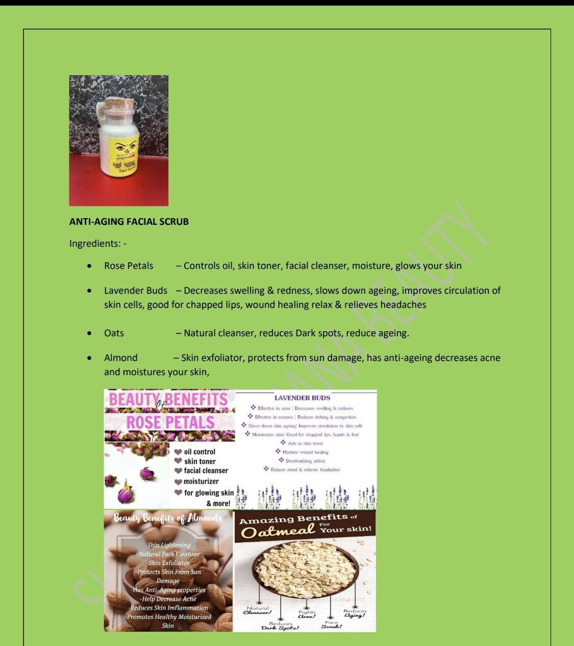 Anti Aging Facial Scrub - Best Scrub for Face and Body. 100% no chemical.