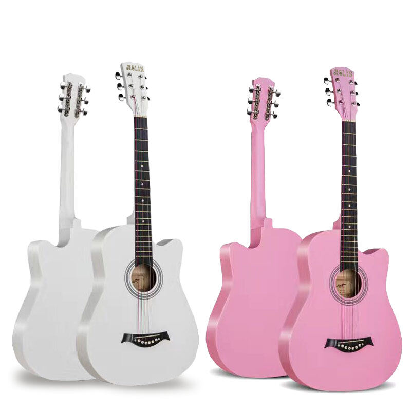41-Inch Log Guitar, White for Beginners, Boys and Girls, Beginners, Self-Taught Folk Music Instruments for Students Malaysia