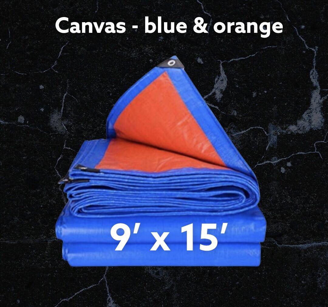 Canvas Canopy 9 x 15 [Kaki] Blue Orange Kanopi Kanvas Kanvas Khemah Pasar Kolam Ikan Tutup Kereta Lori