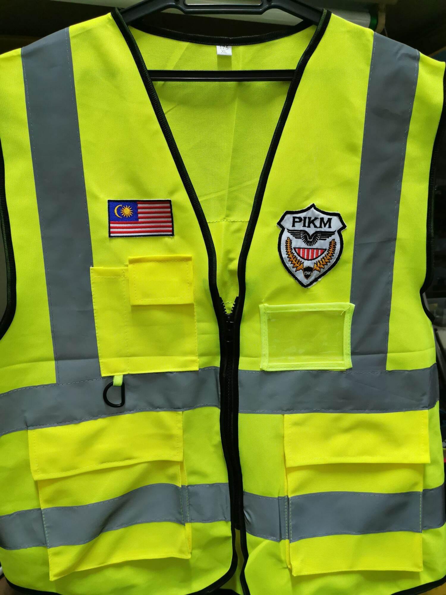 Vest Reflective Security 4 Pocket Vest Pantulan Cahaya Logo Bendera PIKM Security