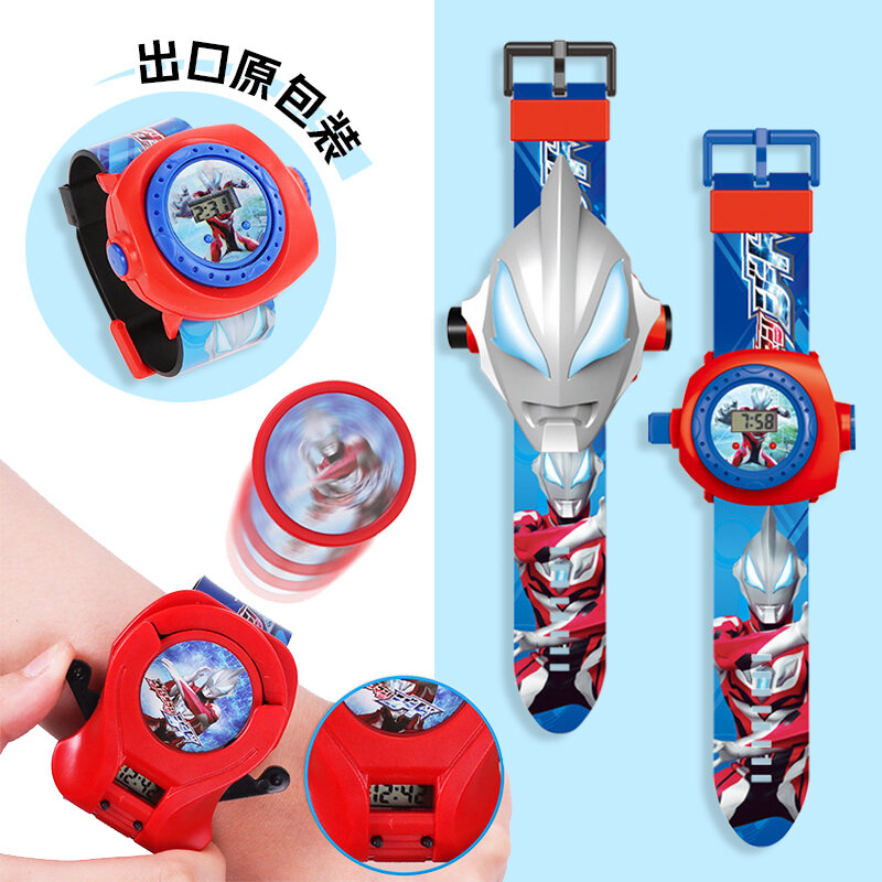 Childrens Watch Toy Cartoon Electronic Projection Luminous Emission Kindergarten Gifts from Ultraman Flagship Store Malaysia
