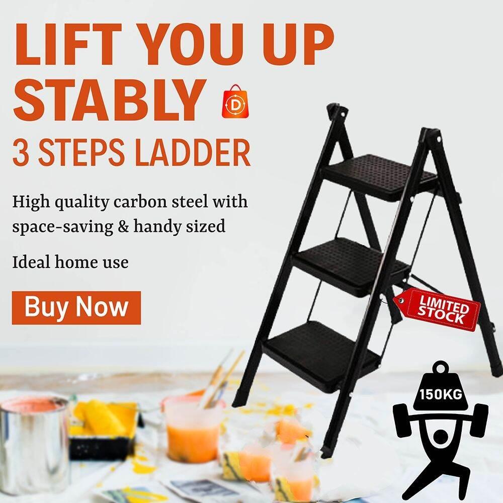 High Quality 3 Step Lightweight Foldable Ladder