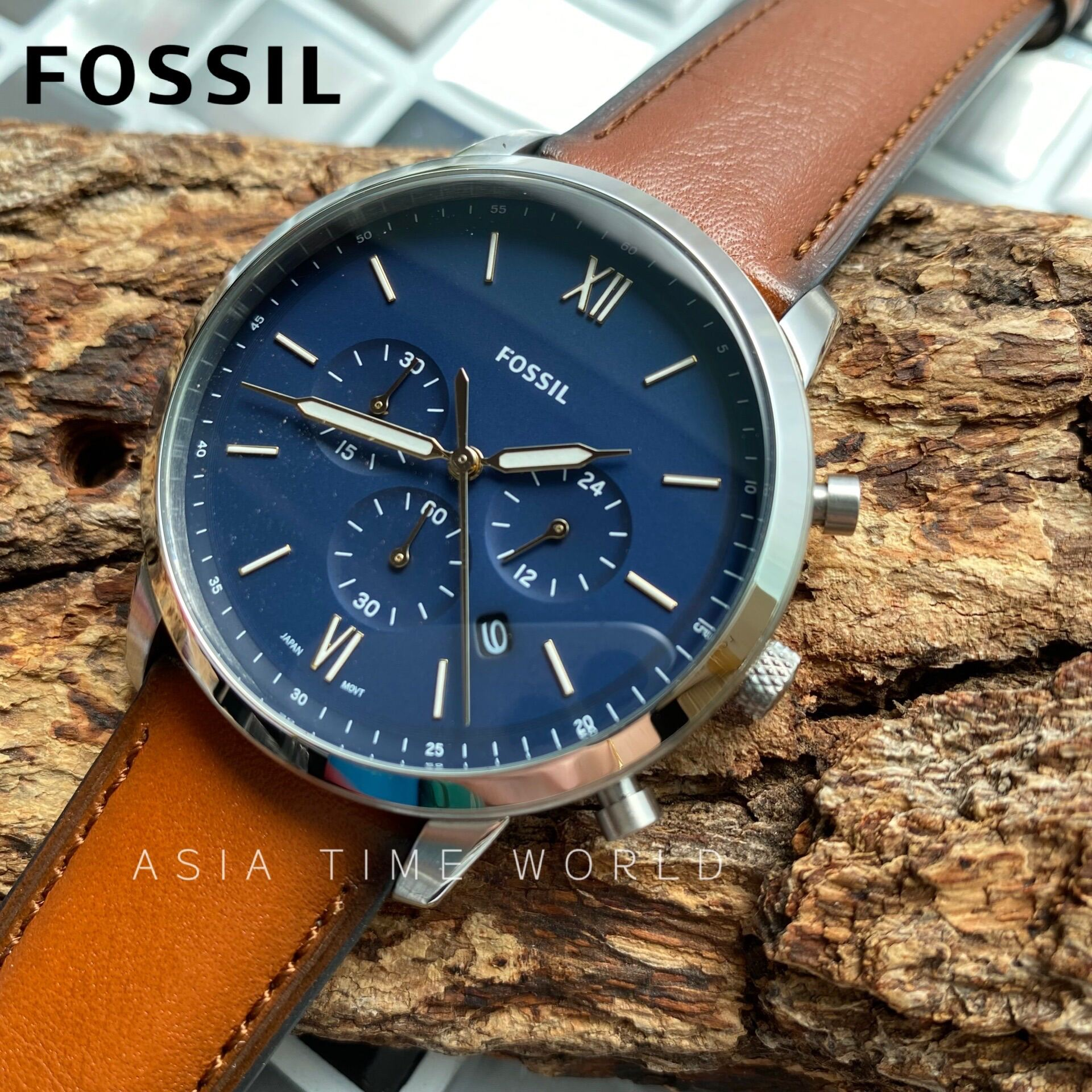 [Original] Fossil FS5453 Neutra Chronograph Blue Dial Brown Leather Strap Official Warranty Malaysia